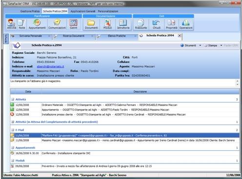 Echo Sistemi, schermata di esempio n.2 sul software CRM Facile!Business